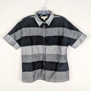 Burberry | Gray Black Striped Top